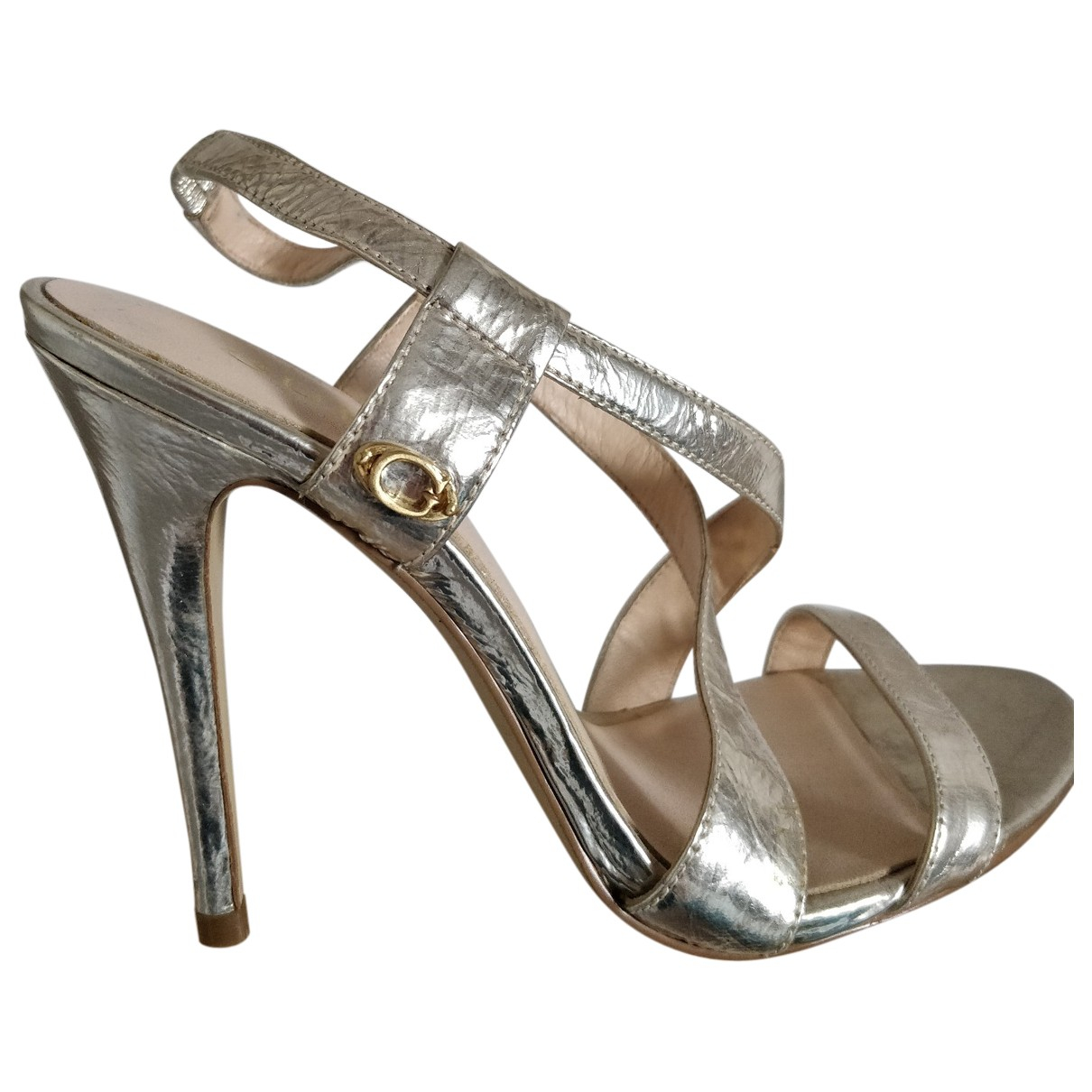 Guess \N Gold Patent leather Sandals for Women 36 EU