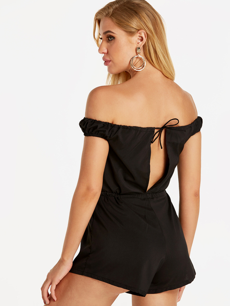 Yoins Black Sexy Off Shoulder Playsuit With Drawstring waist