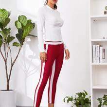 Geripptes T-Shirt mit halber Reissverschlussleiste & Leggings Set mit Kontrast und seitlicher Naht