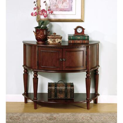 BM160197 Brown Wooden Console Table With Curved Front & Inlay