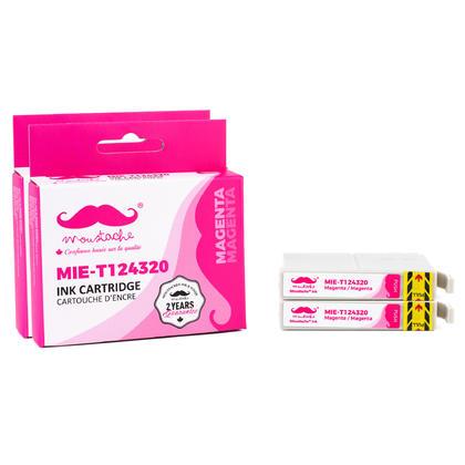 Compatible Epson T124320 Magenta Ink Cartridge - Moustache@ - 2/Pack