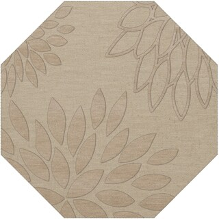 Newport Beach Floral Octagon Wool Rug (10' x 10') (Taupe - Ivory)