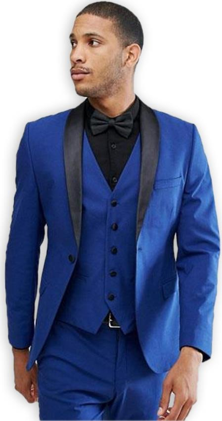 Mens Blue 1 Button Shawl Lapel Single Breasted Slim Fit Vested Suit