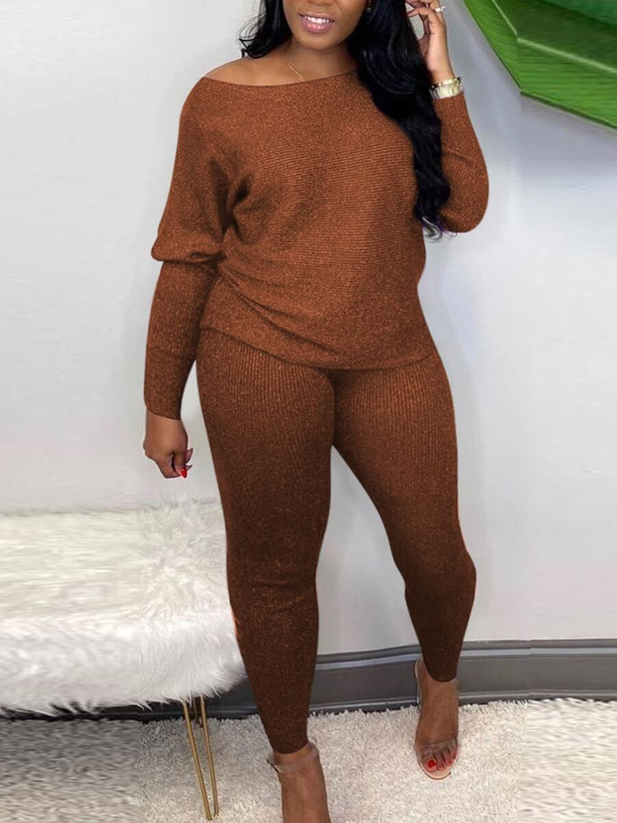 LW Lovely Casual Boat Neck Long Sleeve Coffee Two Piece Pants Set