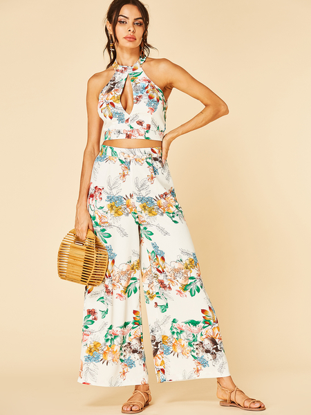 YOINS White Cut Out Floral Print Halter Top & Wide Leg Trousers Co-ord