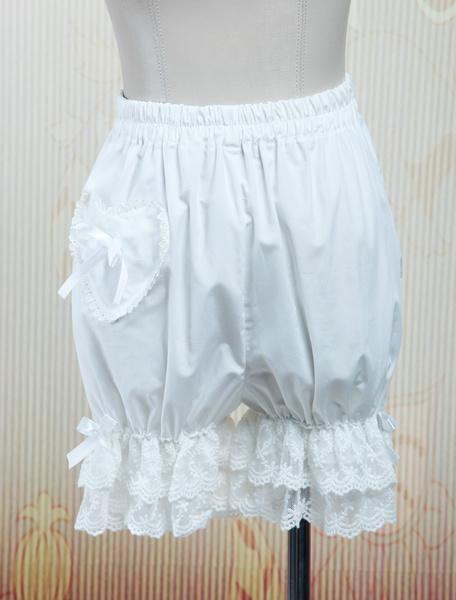 Milanoo Pantalones de Lolita 2020  Lovely Blanco Algodon Bombachos Encaje Trim Bolsillos Lazo Cinta