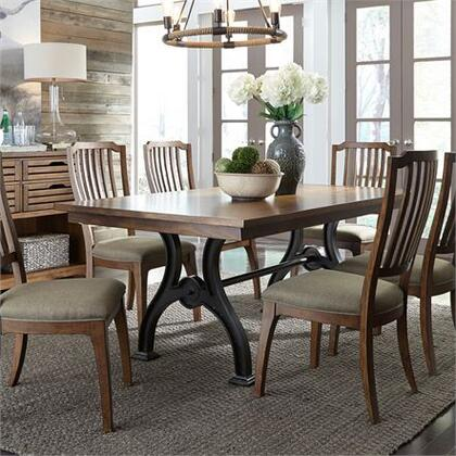 Arlington House Collection 411-DR-O7TRS 7 Piece Trestle Table Set with 6x Spindle Back Side Chair and 1 Trestle Table in Cobblestone Brown