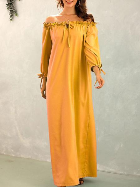 Milanoo Women Maxi Dresses 3/4 Length Sleeves Green Bateau Neck Chiffon Floor Length Dress