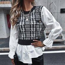 Plaid Asymmetrical Hem Combo Sweater