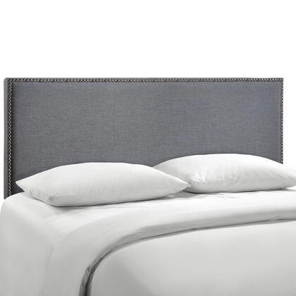 MOD-5215-SMK Region Queen Nailhead Upholstered Headboard in Smoke