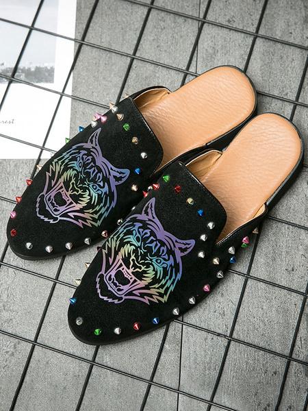 Milanoo Men\'s Sandals Slip-On Artwork StuddedSequins PU Leather Rubber Sole Men\'s Summer Mules