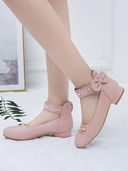 Milanoo Sweet Lolita Footwear White Bows Bee Round Toe PU Leather Lolita Shoes