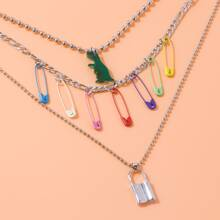 Paper Clip & Lock Layered Necklace