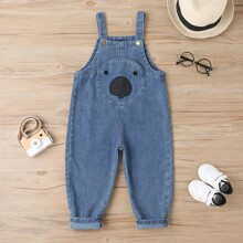 Toddler Girls Embroidery Cartoon Denim Overall
