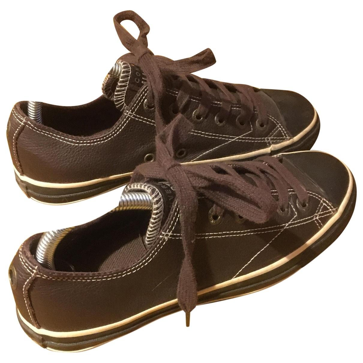 Converse - Baskets   pour femme en cuir - marron