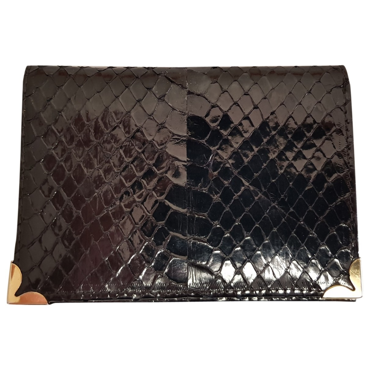 Non Signé / Unsigned \N Black Python Small bag, wallet & cases for Men \N