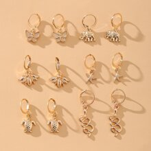 6pairs Bee & Starfish Drop Earrings