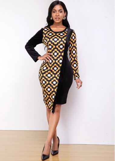 Black Dresses Asymmetric Hem Round Neck Tribal Print Dress - M