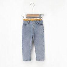 Jeans mit Buchstaben Grafik und elastischer Taille