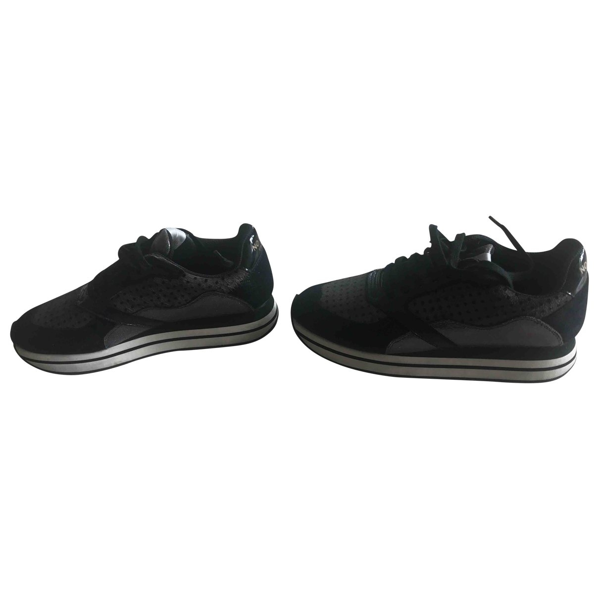 Non Signé / Unsigned \N Black Leather Trainers for Women 37 EU