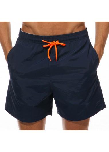Drawstring Waist Mesh Liner Quick Dry Bermuda Men's Swim Trunks - M