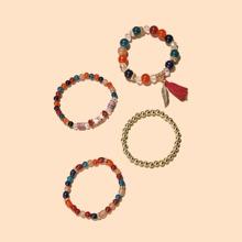 4pcs Tassel Charm Beaded Bracelet