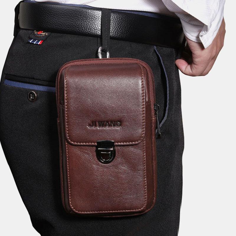 Men EDC Genuine Leather 6.3 Inch Retro Outdoor Waist Belt Bag