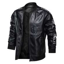 Men Letter Graphic PU Leather Bomber Jacket