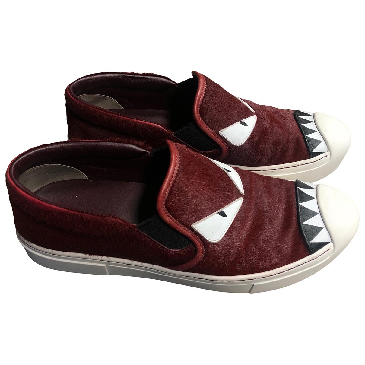 Fendi \N Sneakers in  Bordeauxrot Kalbsleder in Pony-Optik