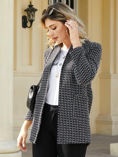 YOINS Black Side Pockets Plaid Long Sleeves Coat
