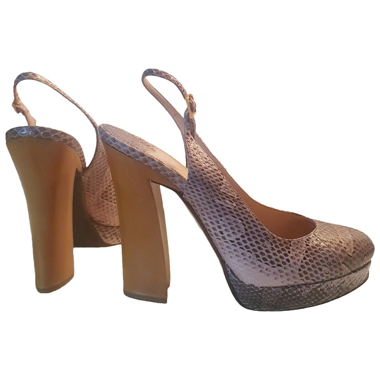 Sonia Rykiel - Escarpins   pour femme en python - beige