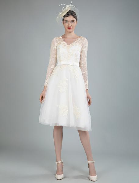 Milanoo Short Wedding Dress Tulle Knee Length V Neck Long Sleeves A Line Natural Waist Bridal Gowns