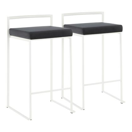 Fuji Collection B26-FUJIWVBK2 Set of 2 Counter Height Stool with Contemporary Style and Velvet Fabric Upholstery in Black
