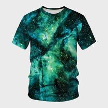 Camiseta de hombres de manga corta con estampado de galaxia