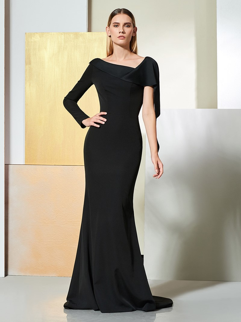 Ericdress One Shoulder Long Sleeve Black Mermaid Evening Dress