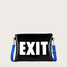 Letter Graphic Zip Up Clutch Bag
