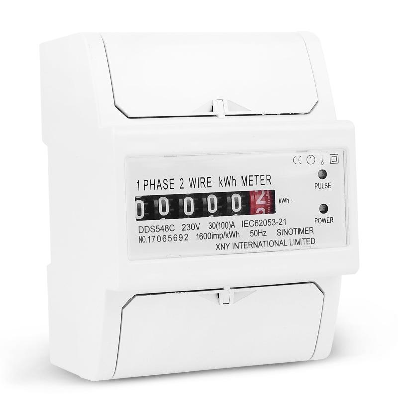30-100A 230V Single-phase Electric Watt-hour Meter DIN-rail Type Installation Household Energy Meter