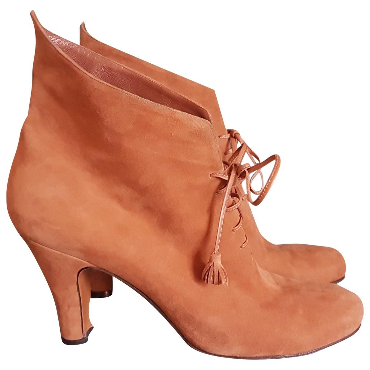 Salvatore Ferragamo \N Camel Suede Ankle boots for Women 40 EU