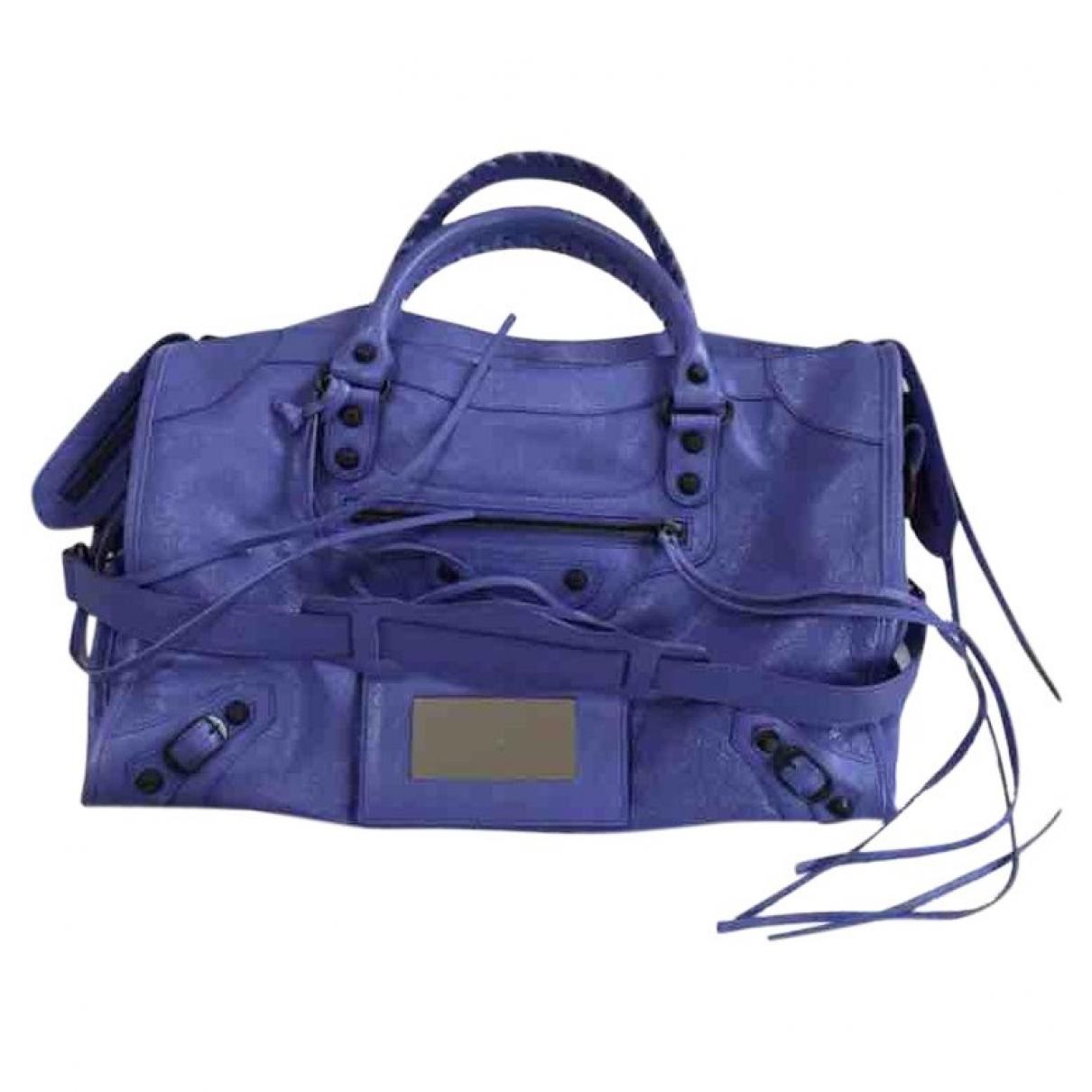 Balenciaga City Handtasche in  Lila Leder