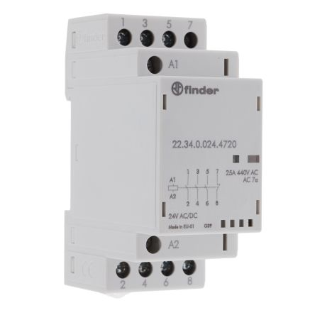 Finder , 24V ac/dc Coil Non-Latching Relay 3PNO, SPNC, 25A Switching Current DIN Rail, 4 Pole