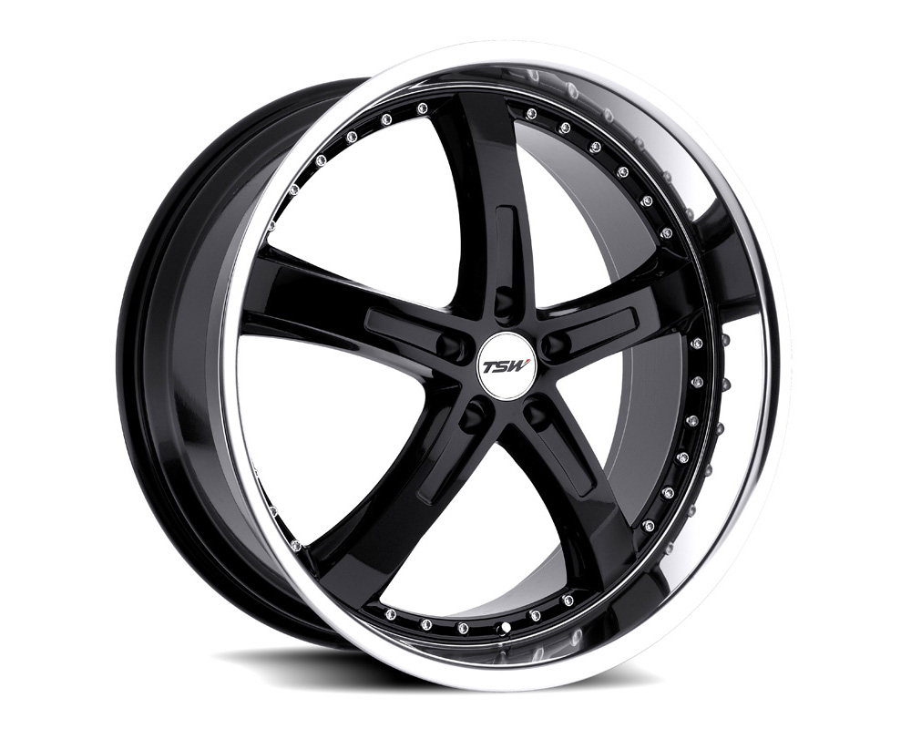 TSW Jarama Wheel 17x8 5x120 35mm Gloss Black w/ Mirror Cut Lip