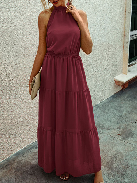 Milanoo Vestidos largos Sin mangas Vestido largo de gasa con cuello de joya rojo oragnge