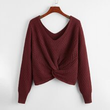 Double V-neck Twist Front Sweater