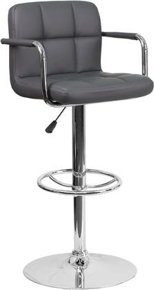 CH102029 Collection CH-102029-GY-GG Barstool with Adjustable Height  Swivel Seat  Footrest Support  Contemporary Style  Chrome Pedestal Base and