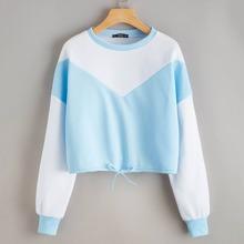 Color Block Drawstring Hem Pullover