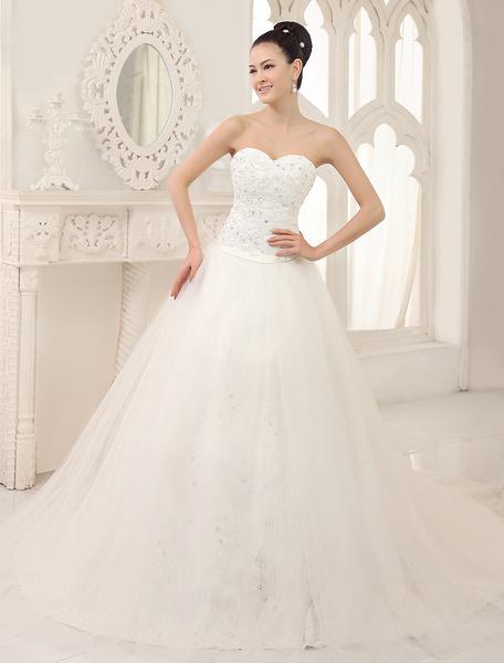 Milanoo Vestido de novia de tul con escote en corazon de cola capilla