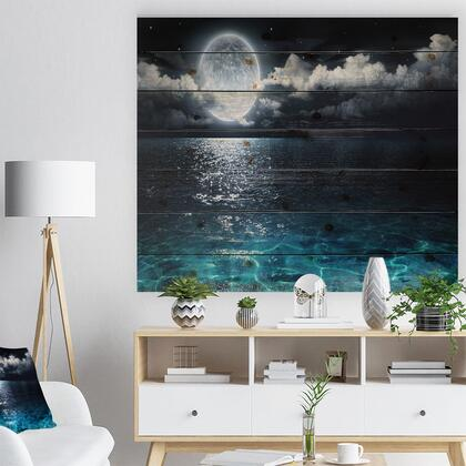 WD9653-40-30 Romantic Full Moon Over Sea - Seascape Print On Natural Pine Wood -