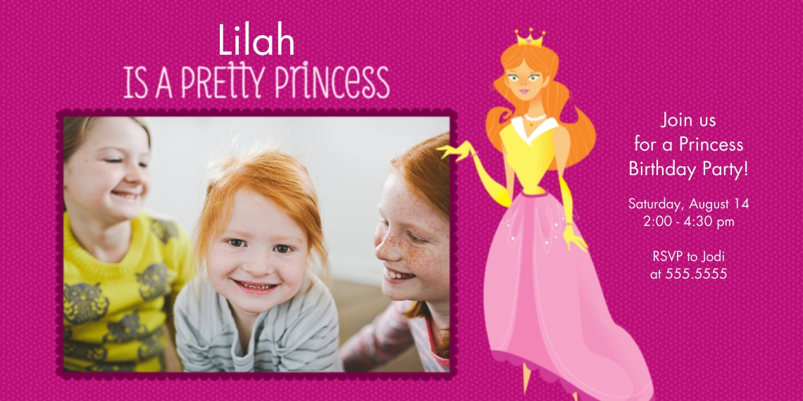 Kids Birthday Party Invites Flat Matte Photo Paper Cards with Envelopes, 4x8, Card & Stationery -Pretty Princess Birthday