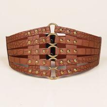 Hollow Out Studded Decor Belt