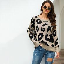 Round Neck Leopard Pattern Sweater